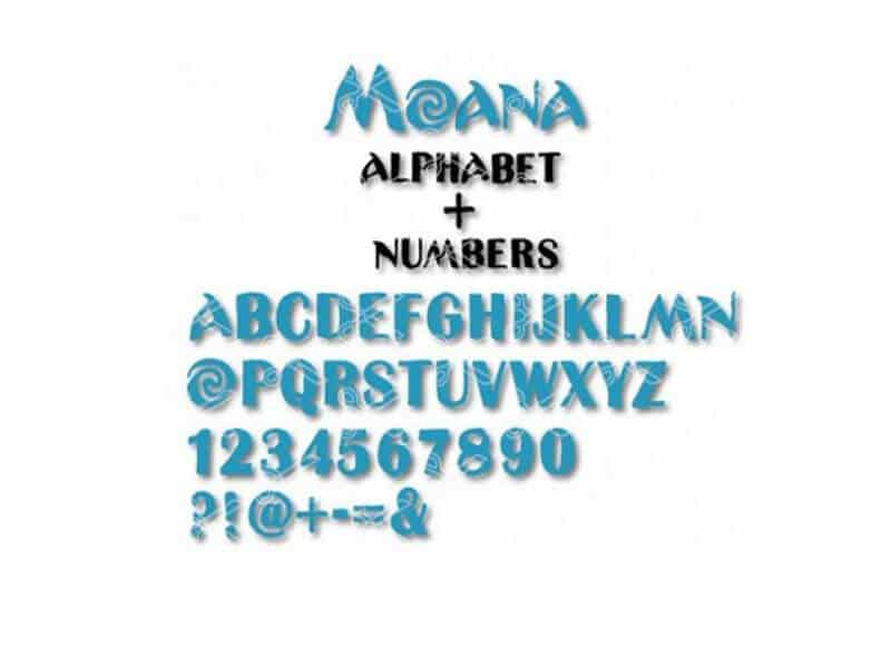 Moana Font Alphabat Numbers
