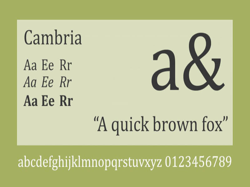 Cambria Font Family Free Download