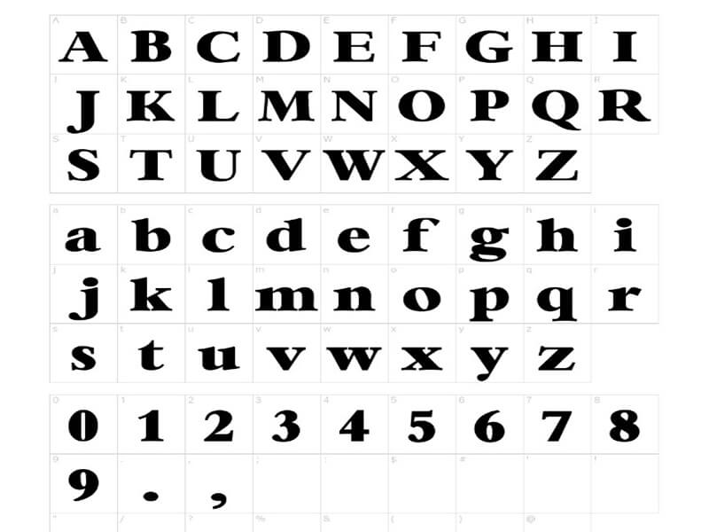 NASA Font Lettering Map