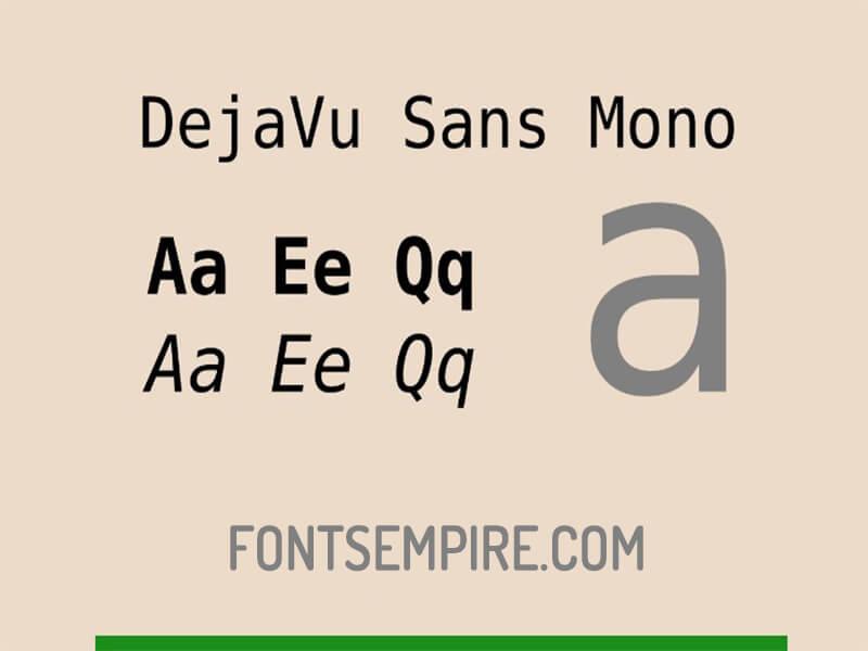 DejaVu Sans Mono Font Family Free Download